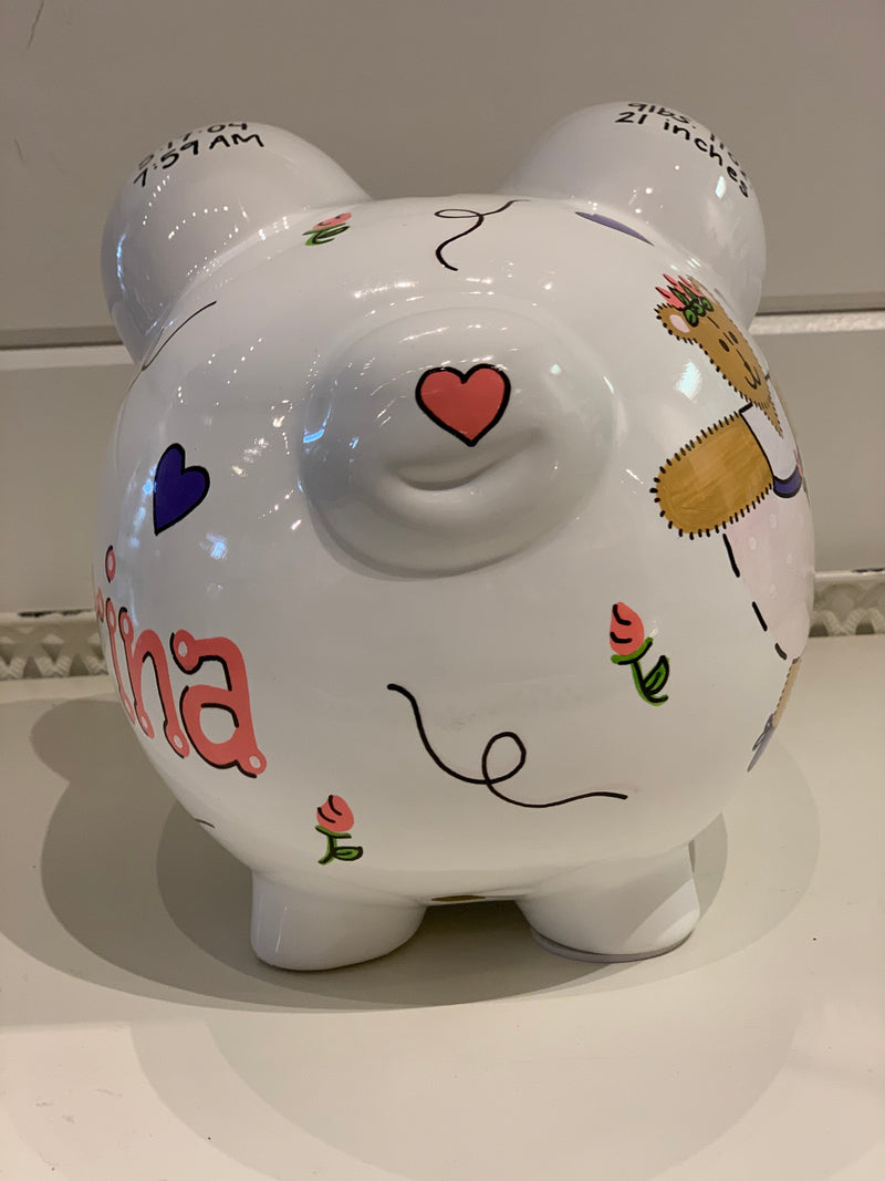Hand-Painted Personalized Piggy Bank - Bear Ballerina