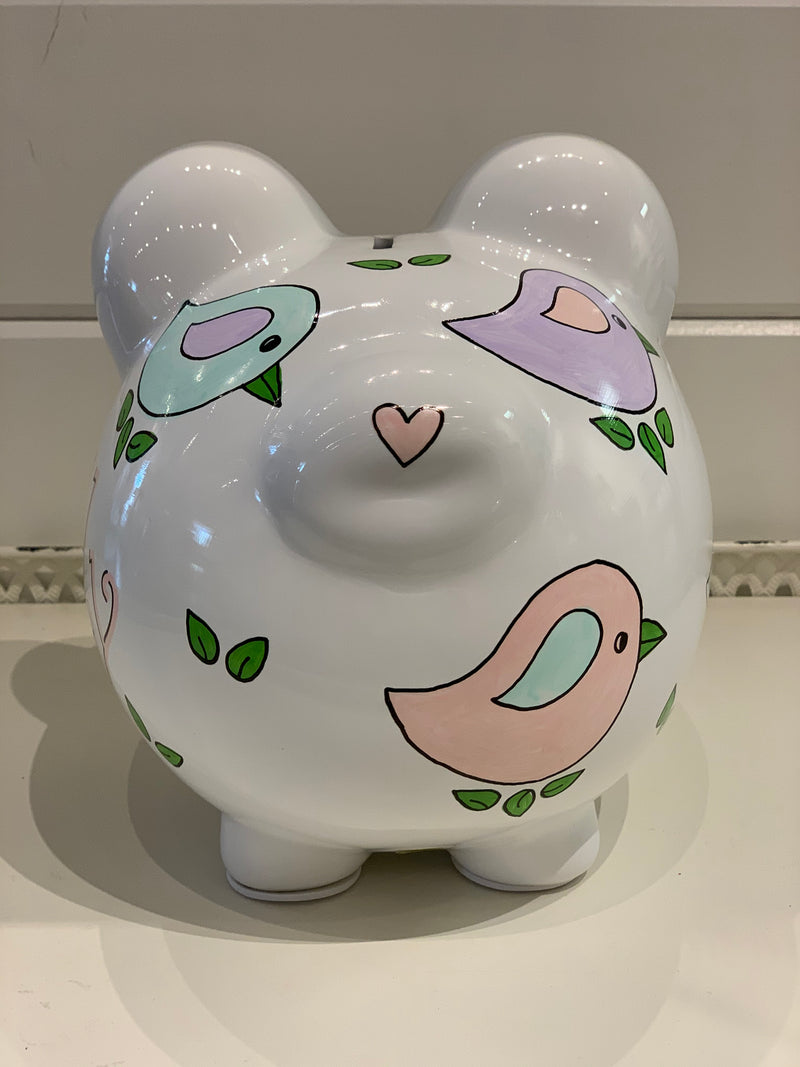 Hand-Painted Personalized Piggy Bank - Birdies