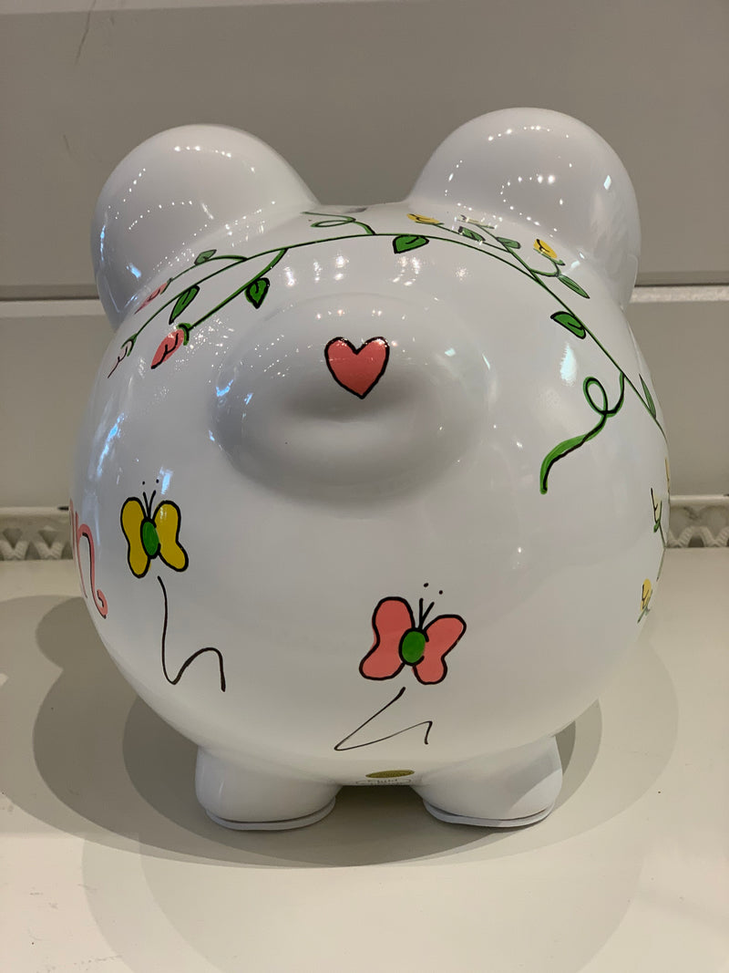 Hand-Painted Personalized Piggy Bank - Rosebud Vine
