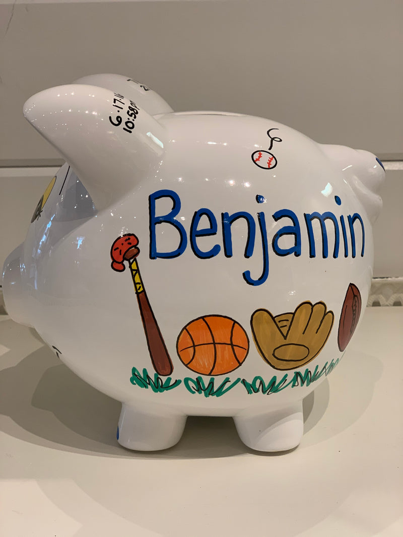 Hand-Painted Personalized Piggy Bank - Sports