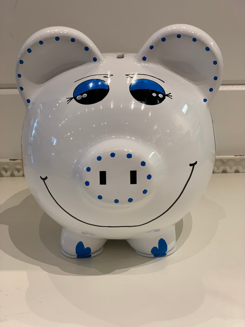 Hand-Painted Personalized Piggy Bank - Train