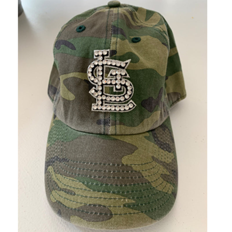Baseball Bling Hat - St. Louis Cardinals '47 Camo Clear Crystals