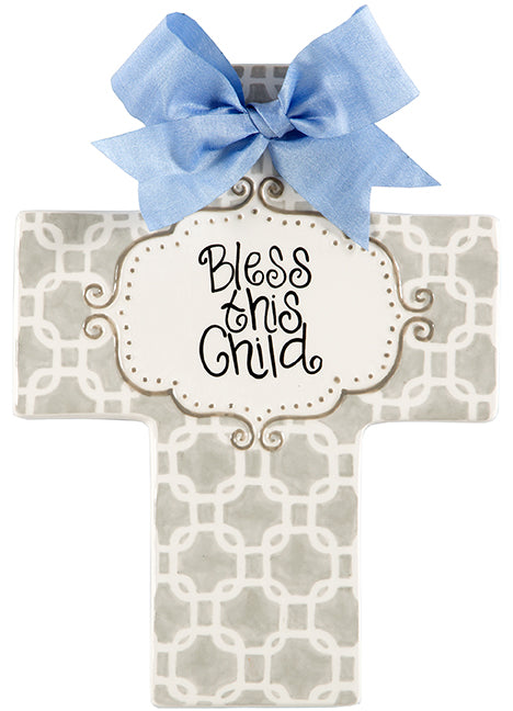 Large Grey Cross with Blue Ribbon - Personalization Available