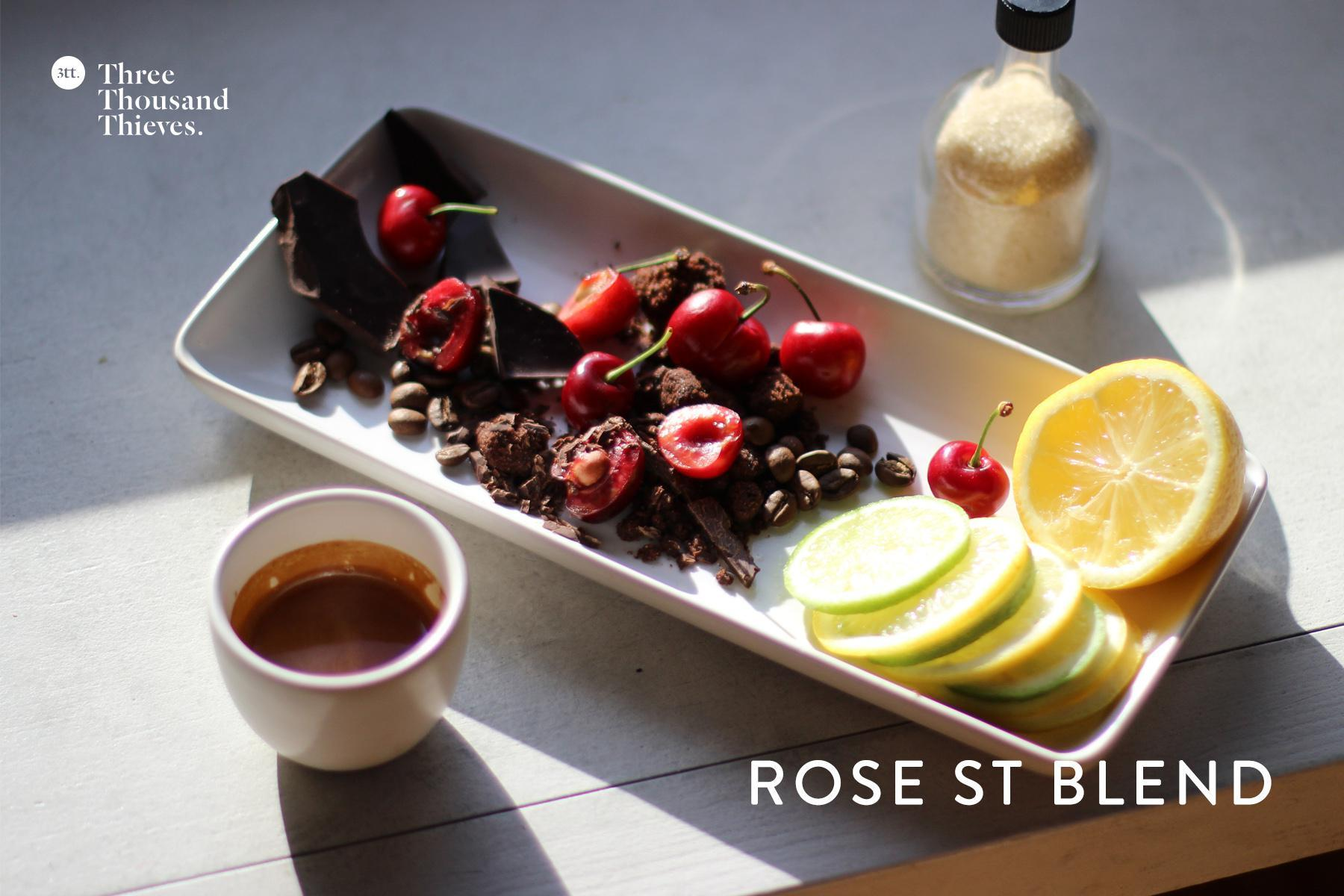 Rose St Blend by Industry Beans for November 2014 - Citrus, cherries, and cocoa; all part of the Industry.