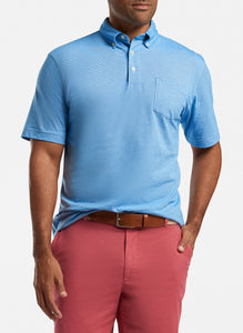 Peter Millar Shark Island Aqua Cotton Polo - White