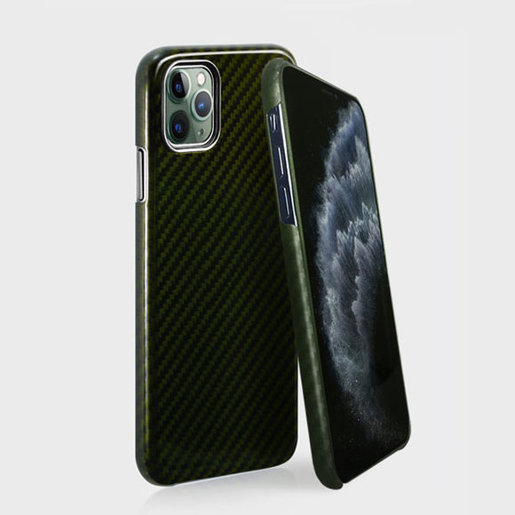 monCarbone HOVERKOAT iPhone 11, 11 Pro, 11 Pro Max ケース 【グリーン】 フルカーボンケース 弾道繊維 カーボンケブラー レンズ保護 ワイヤレス充電可能