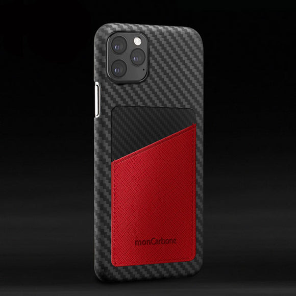 monCarbone HOVERSKIN iPhone 11, 11 Pro, 11 Pro Max ケース 【レッド】 カーボンケース サフィアーノレザー 背面カードケース レンズ保護 極薄 超軽量