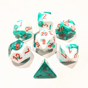 Gemini Mint Green-White/Orange Polyhedral Dice Set