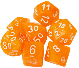 Festive Flare/White Polyhedral Dice Set