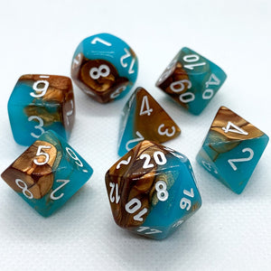 Gemini Copper/Turquoise Polyhedral Dice Set