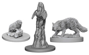 Unpainted Mini - Familiars Bat, Fox, & Badger (PF)