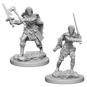 Unpainted Mini - Human Female Barbarian (5E)