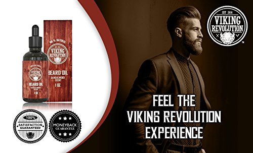 Beard Oil Conditioner - All Natural Sandalwood Scent with Organic Argan & Jojoba Oils - Softens & Strengthens Beards and Mustaches for Men (Sandalwood, 1 Pack)