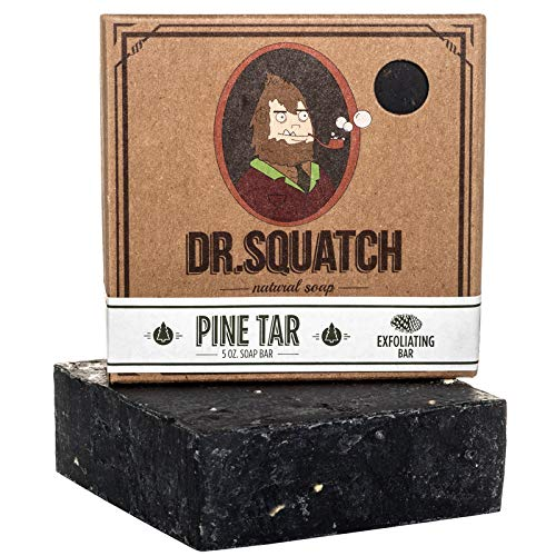 Dr. Squatch Pine Tar Soap – Mens Soap with Natural Woodsy Scent and Skin Scrub Exfoliation – Black Soap Bar Handmade with Pine Tar, Olive, Coconut Organic Oils in USA #1 Pine Tar 5 Ounce (Pack of 1)
