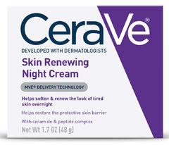 CeraVe Skin Renewing Night Cream | Niacinamide, Peptide Complex, and Hyaluronic Acid Moisturizer for Face | 1.7 Ounce
