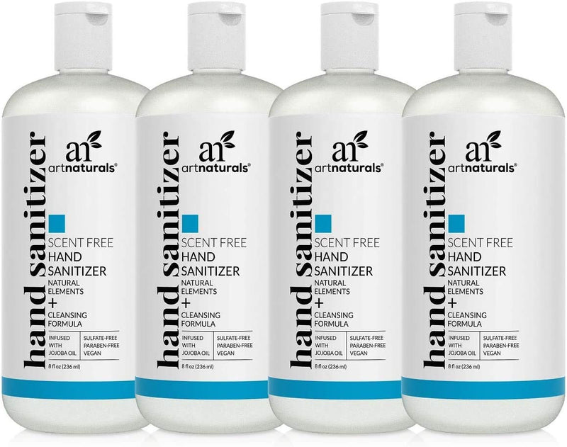 Artnaturals Hand Sanitizer Gel Alcohol Based (4 Pack x 8 Fl Oz / 220ml) Infused with Alovera Gel, Jojoba Oil, Vitamin E - Unscented Fragrance Free Sanitize