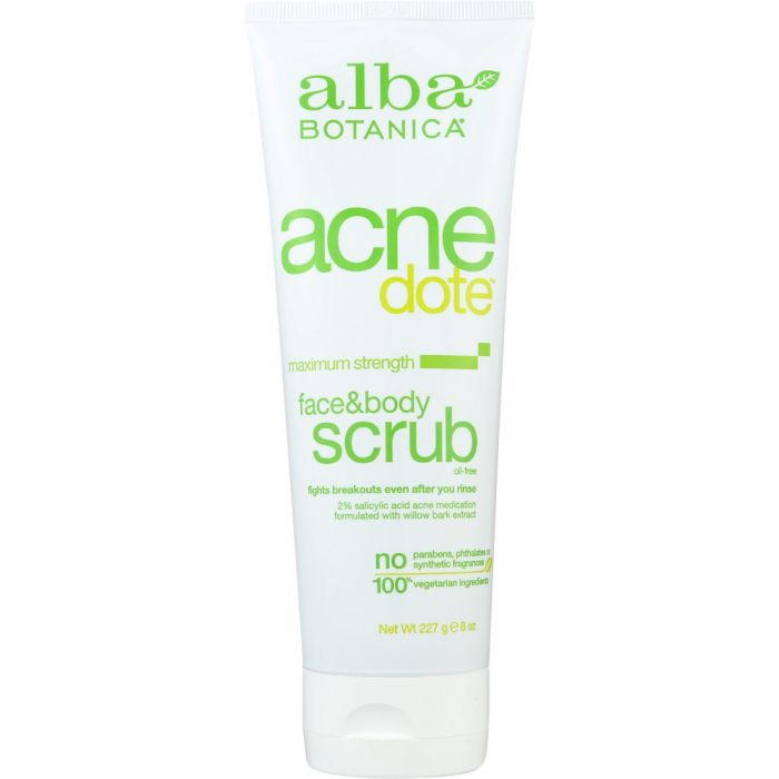 ALBA BOTANICA: Natural Acne Dote Face & Body Scrub Oil-Free, 8 oz