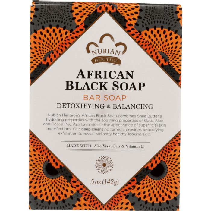 NUBIAN HERITAGE: Bar Soap African Black with Oats Aloe And Vitamin E, 5 oz