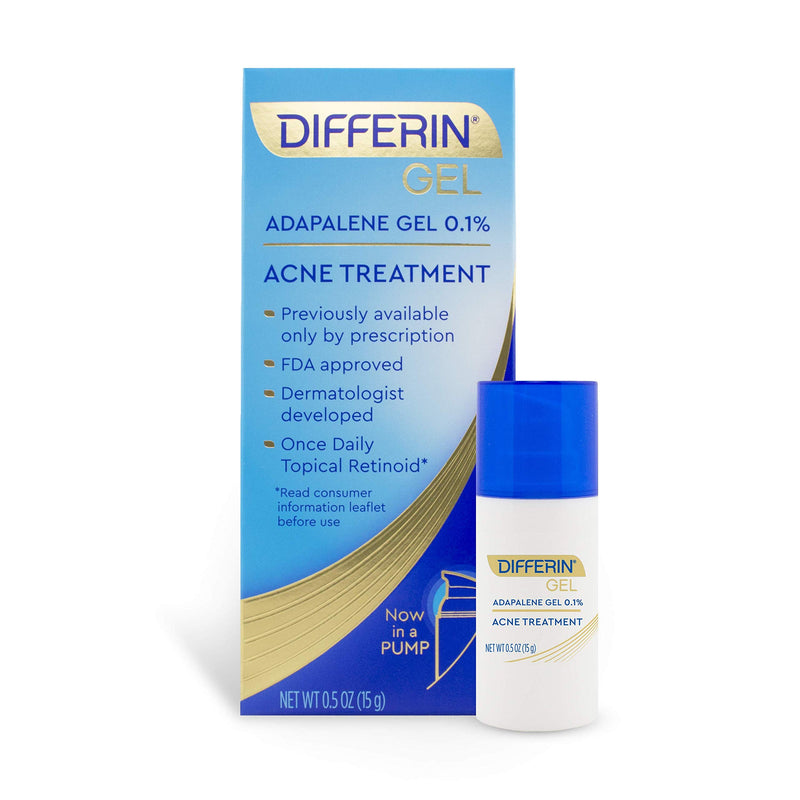 Acne Treatment Differin Gel, Acne Spot Treatment for Face with Adapalene (Up to 30 Day Supply), 15 Gram, Pump