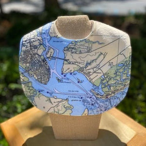 Charleston Nautical Map Baby Bib