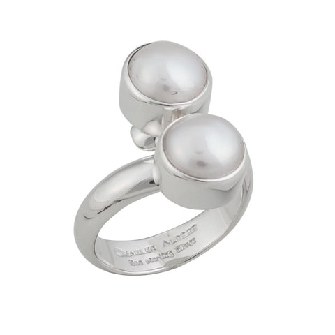 Sterling Silver Double Pearl Adjustable Ring