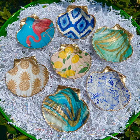 Decoupage Scallop Shell Ring Dish