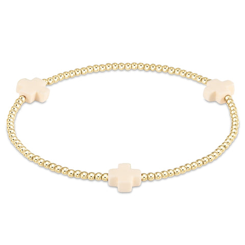 Stone Cross Gold 2mm Bracelet