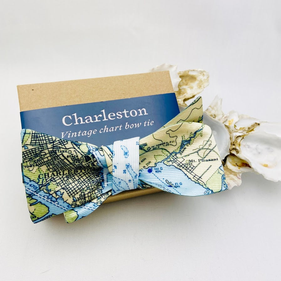 Charleston Nautical Map Bowtie