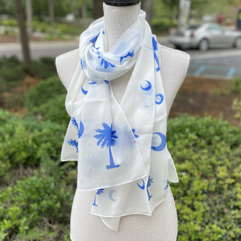 Palmetto Scarf Blue and White