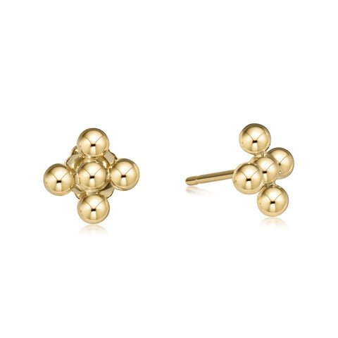 Beaded Cross Gold Studs