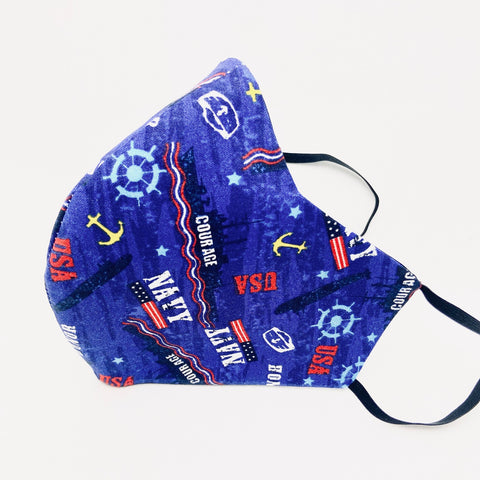 Men's NAVY Ocean Blue Fitted Mask