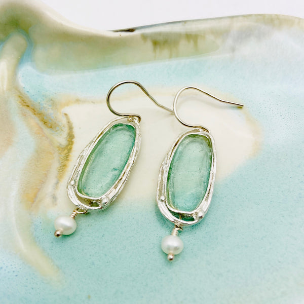 Roman Glass Oblong Pearl Drop Earrings