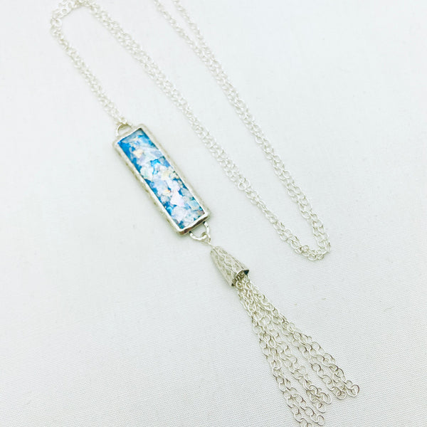 Roman Glass Patina Long Tassel Necklace