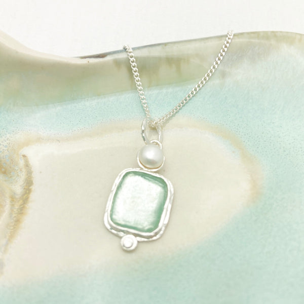 Roman Glass Square Pearl Necklace