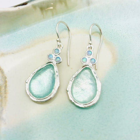 Roman Glass Opal Topped Earrings