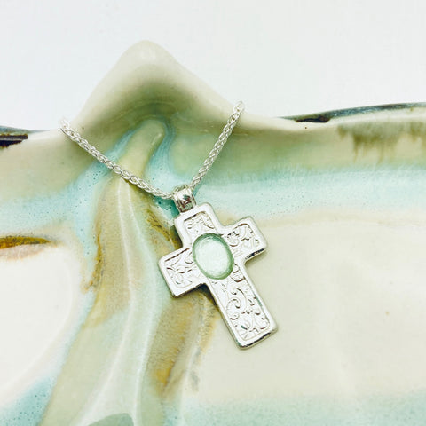 Roman Glass Textured Cross Necklace