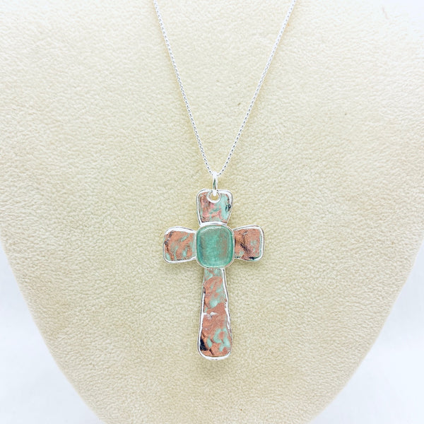 Roman Glass Large Cross Necklace