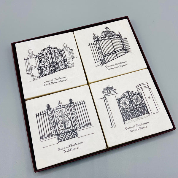 Charleston Gates Marble Coaster Set