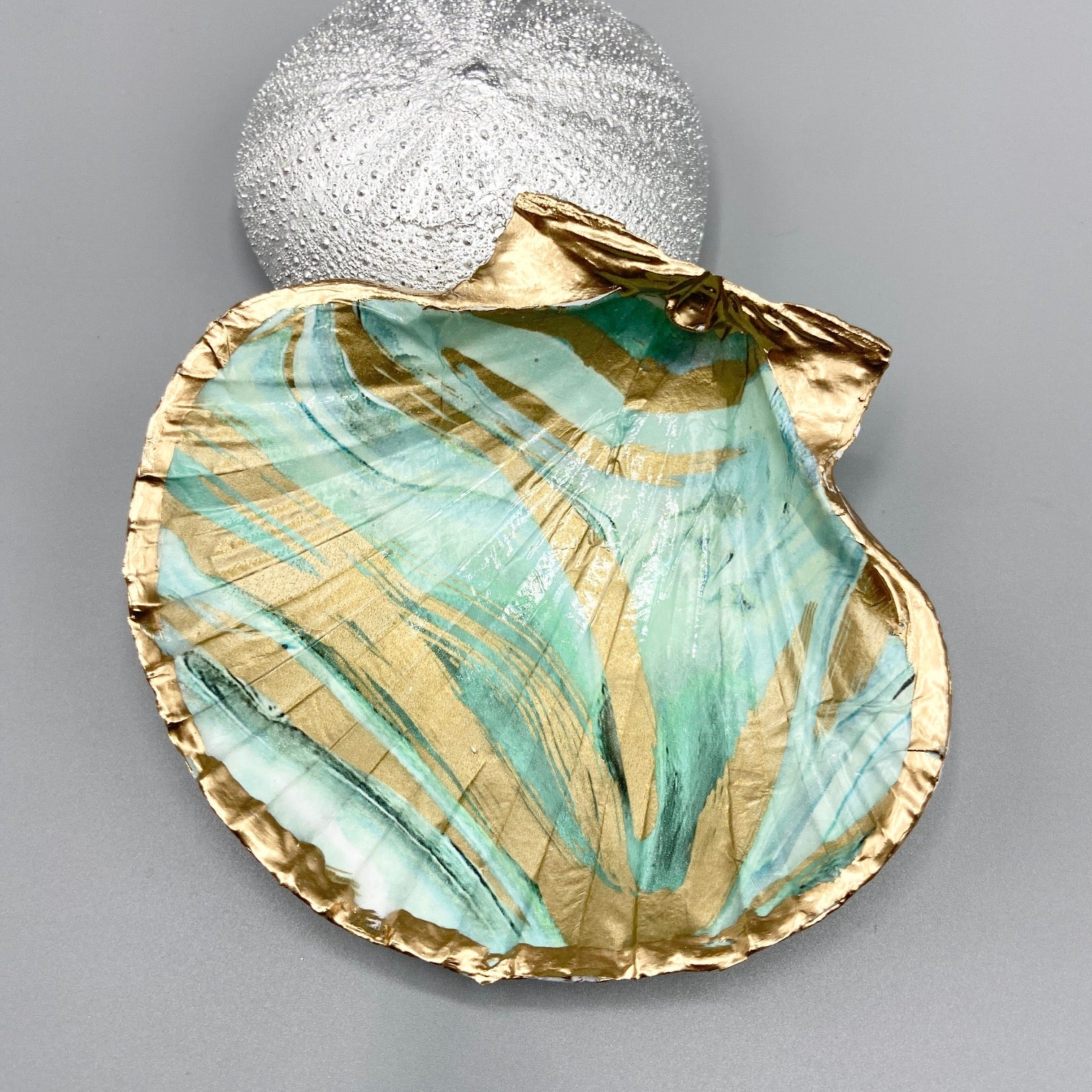 unique gift from Ocracoke Island. Decoupage Giant Cockle Shell Jewelry dish