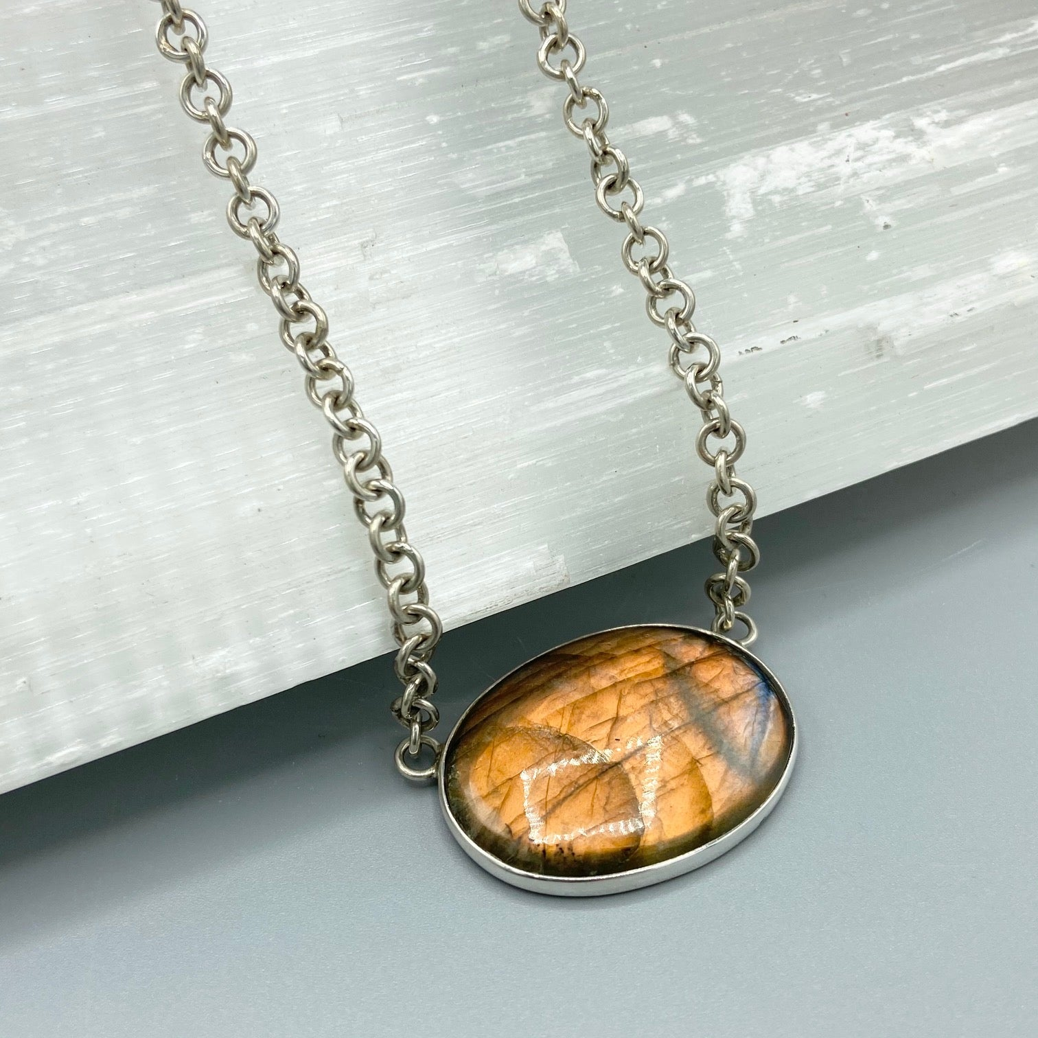 Red Labradorite Sterling Silver Necklace