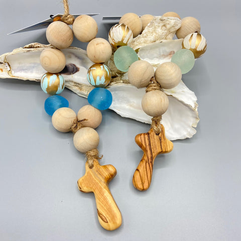 Welcome Beads with Olive Wood Cross