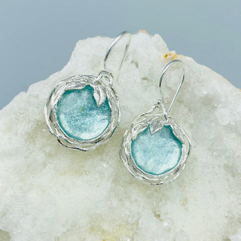 Roman Glass Leaf Circle Earrings