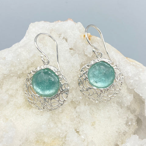 Roman Glass Filigree Earrings