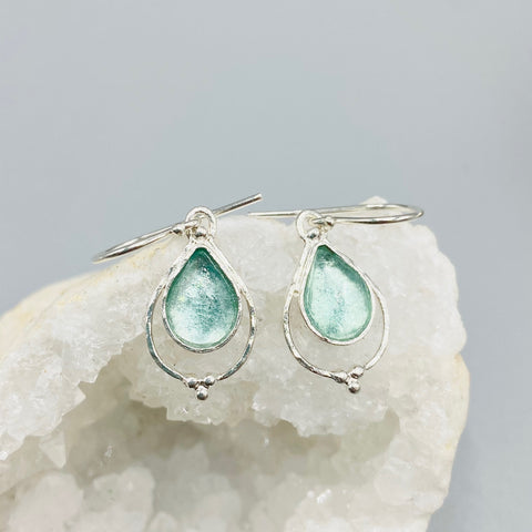 Roman Glass Framed Teardrop Earrings