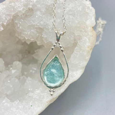 Roman Glass Framed Teardrop Necklace