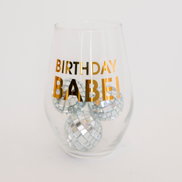Birthday Babe Gold Foil Wine Glass
