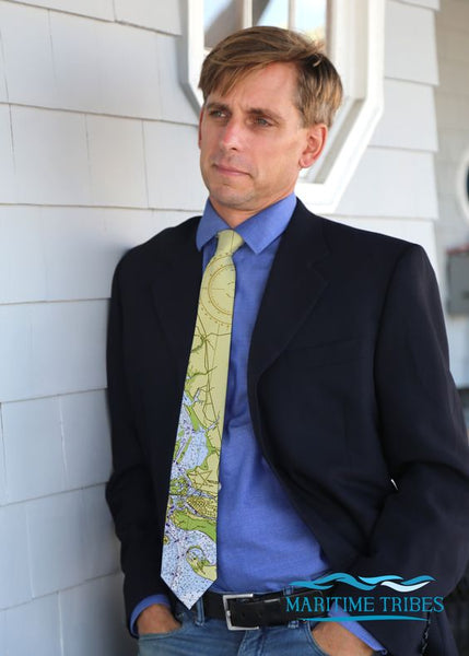 Charleston Nautical Map Tie