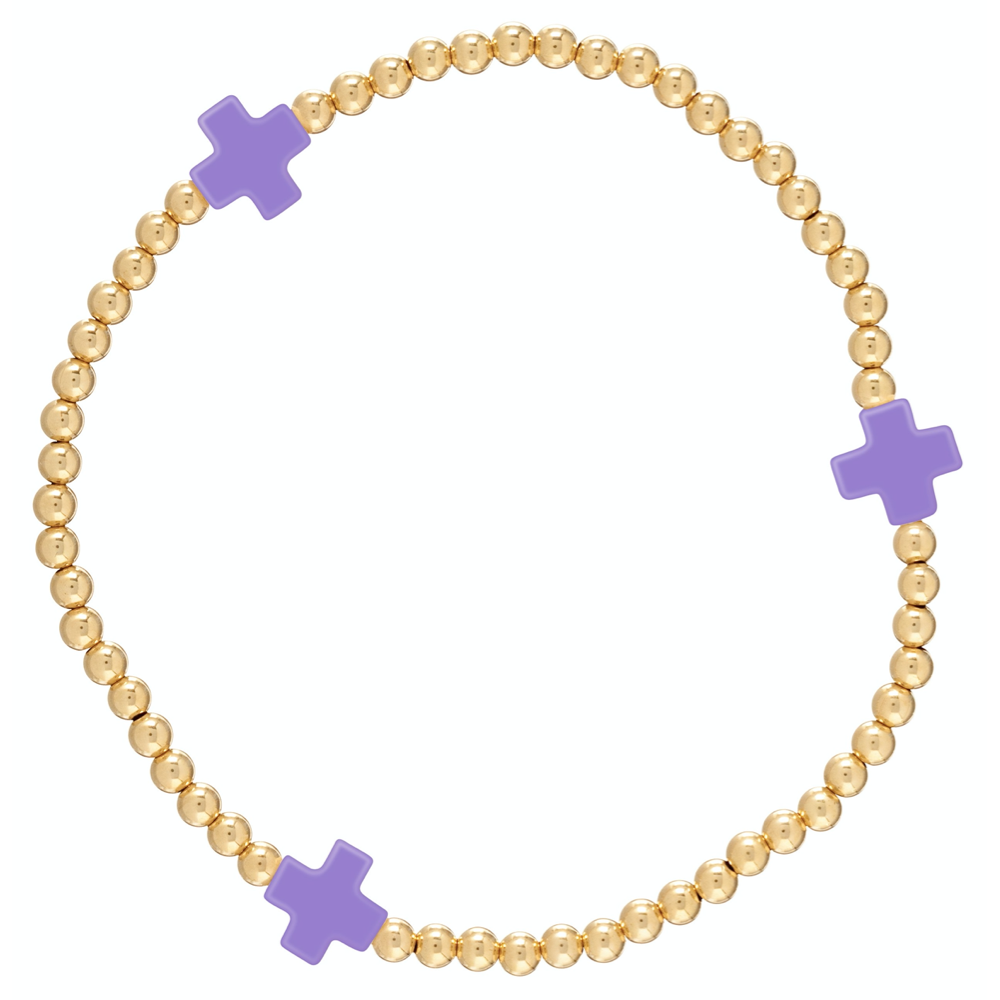 Stone Cross Gold 3mm Bracelet