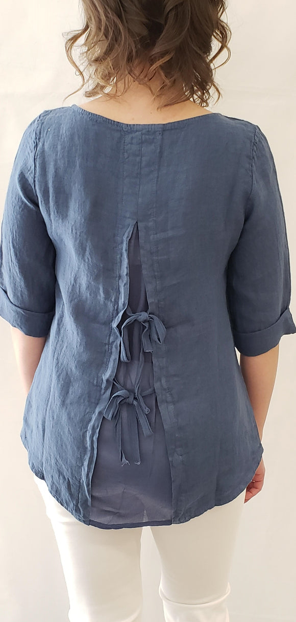 FEMME FATALE Linen Blouse with Back Ties