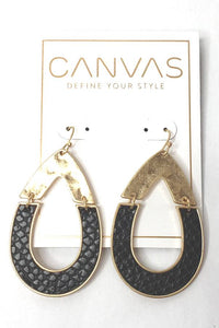Canvas Leather Teardrop Earring